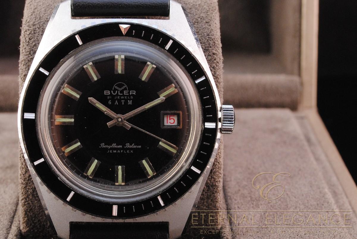 Vintage Buler Jemaflex Diver Men's Swiss Watch, Beryllium ...