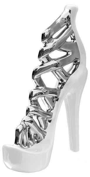 37cm Large Black And Silver Stiletto Shoe Ornament
