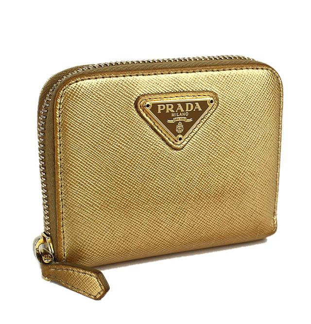 a89d0878fded PRADA Saffiano Leather Zip Around Coin Purse Mini Wallet Gold  44131 ...