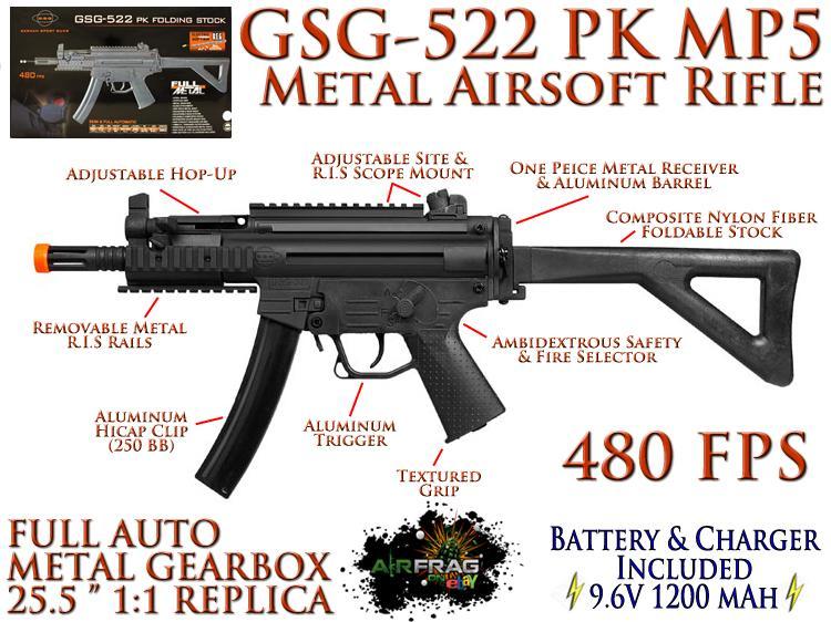 GSG 522 PK RIS FOLDING STOCK MP5 Airsoft Submachine Gun METAL 480fps