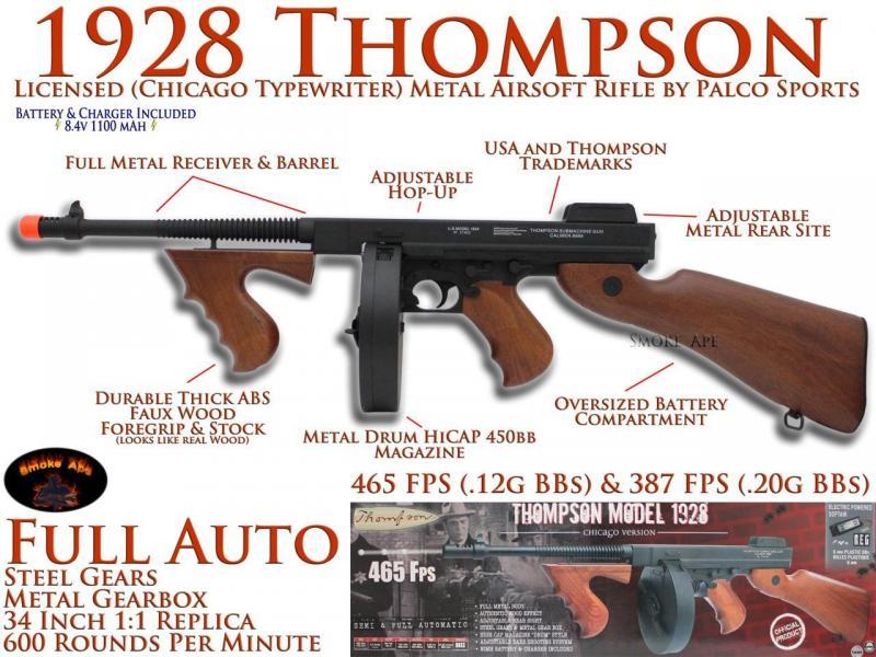 Thompson 1928 DRUM M1A1 465fps Tommy Gun Chicago Typewriter