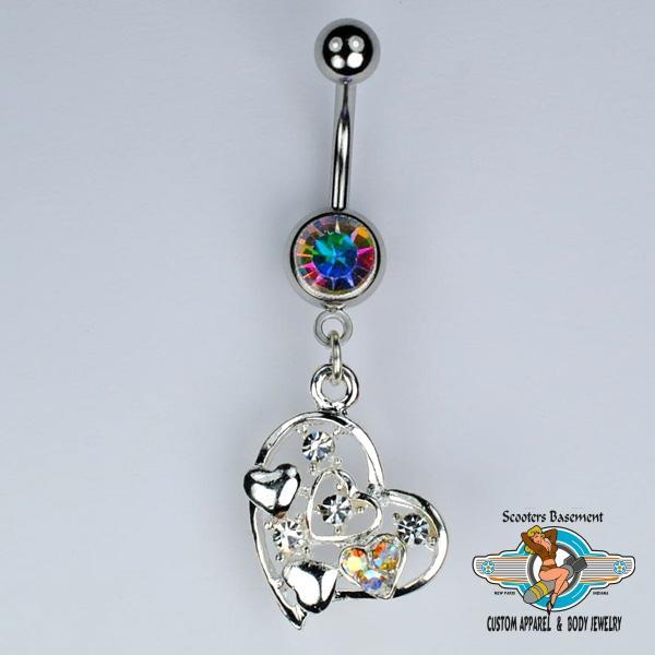 Heart Dangle Belly Ring Bar CZ and Aurora Borealis Heart Navel Ring 14g A32