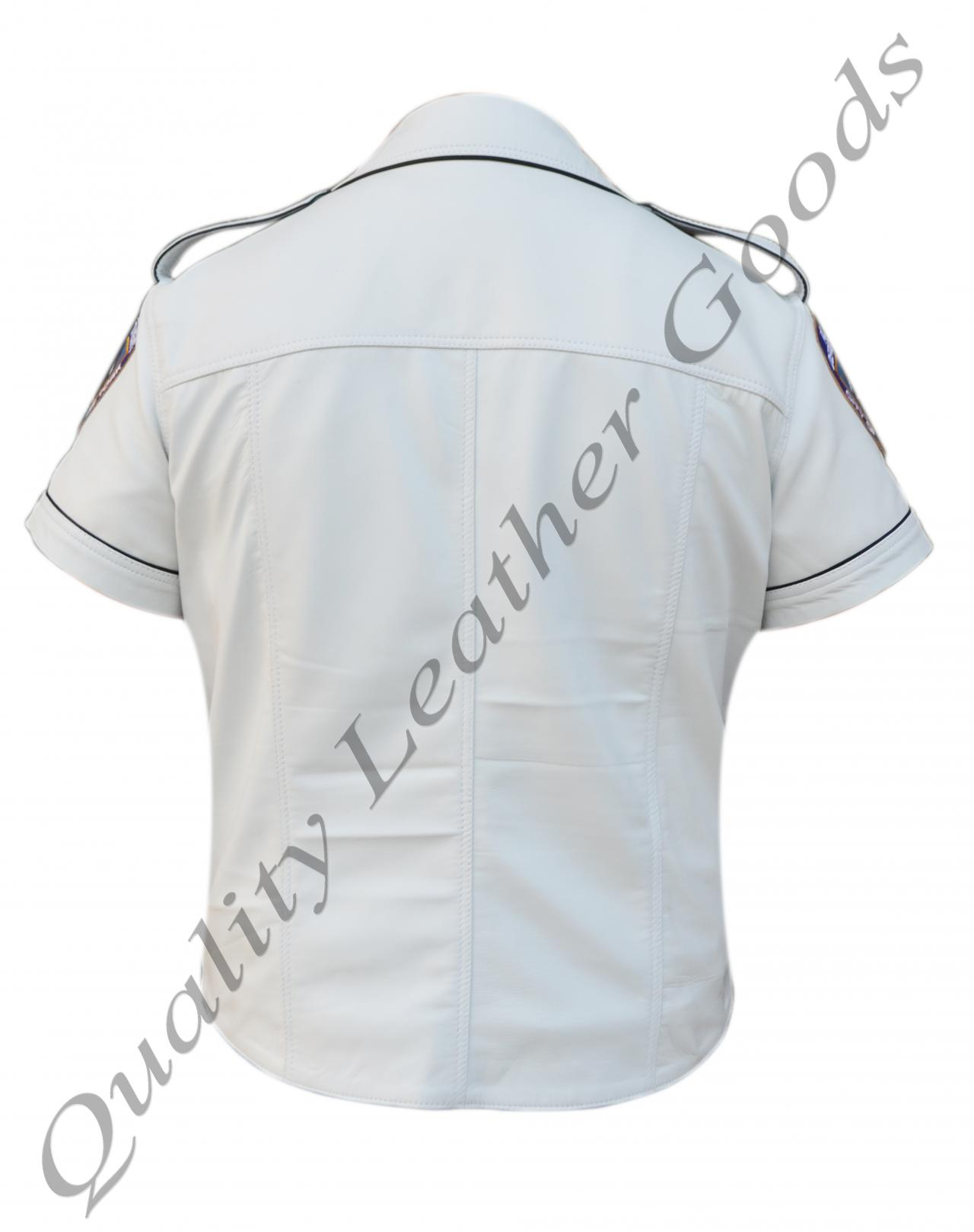 GENUINE SHEEP LEATHER WHITE WITH BLACK PIPING MILITARY UNIFORM SHIRT PARTY BLUF