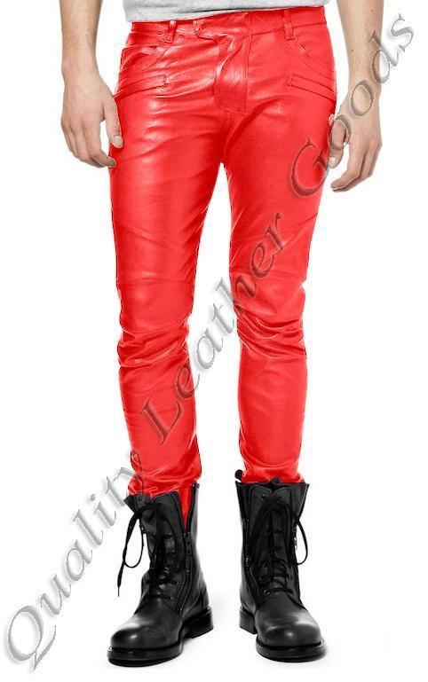 Da Uomo Premium Pelle Sintetica JEANS THIGH Fit Lusso Pants Pantaloni In Rosso