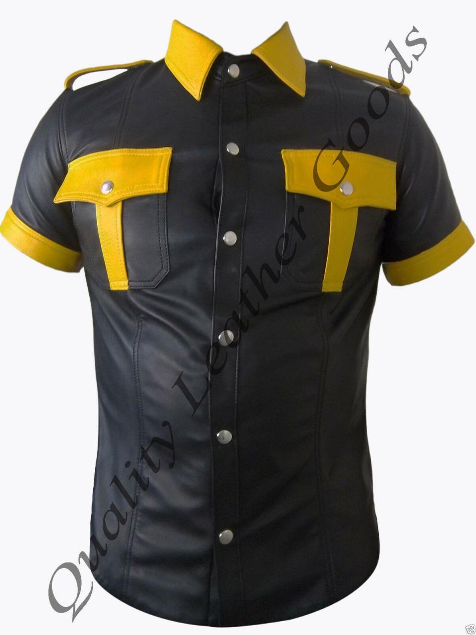 In Vera Pelle Nero e Giallo da Uomo Police Uniforme Militare Camicia Con Patch