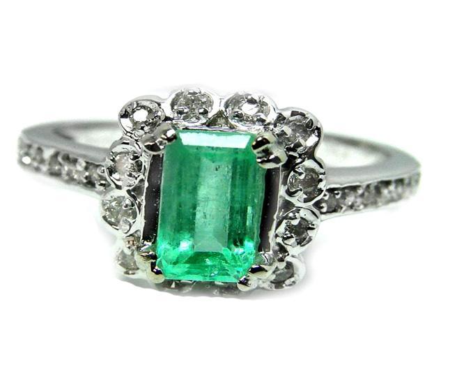 Bid4Assets Auction Emerald Ring 1 05Carat Diamond 18 Carat 14k W