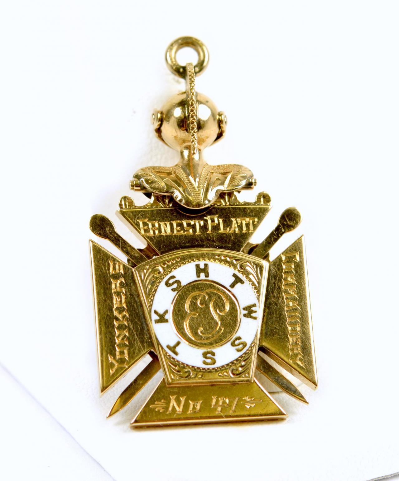 Antique 14k Gold Masonic Knights Templar In Hoc Signo