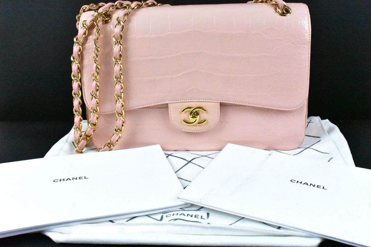6e6bf0933e CHANEL Pale Pink Alligator Classic Double Flap Jumbo Bag w/ Duster ...