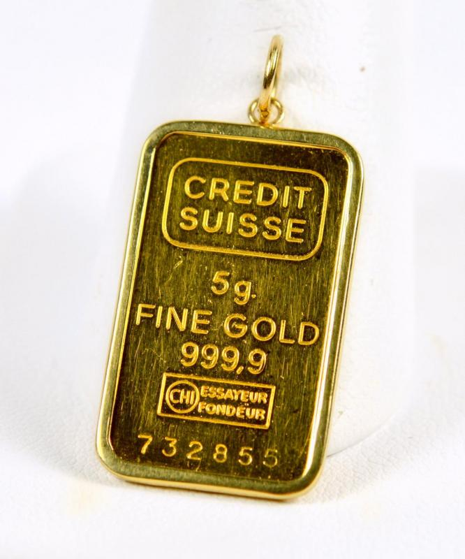 Credit Suisse 5g 999 9 Fine Gold Bar In 14k Yellow Gold