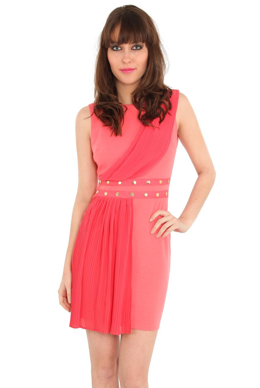 Party Dress In Coral Pleated Chiffon Panel Dress