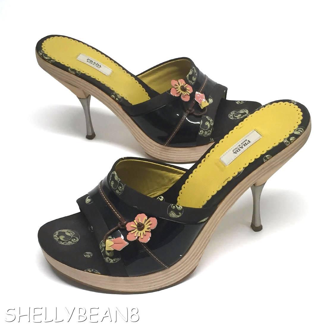 PRADA Wood Metal Heels Platform Slides w/ PINK FLOWERS ...