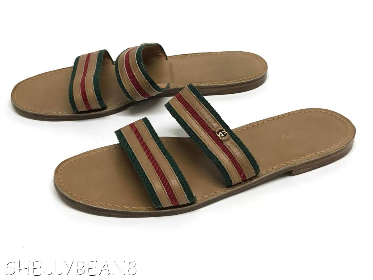 783ce2253a3 GUCCI GG LOGO Flats SANDALS Slides Shoes RED GREEN STRIPE VTG 44 ...