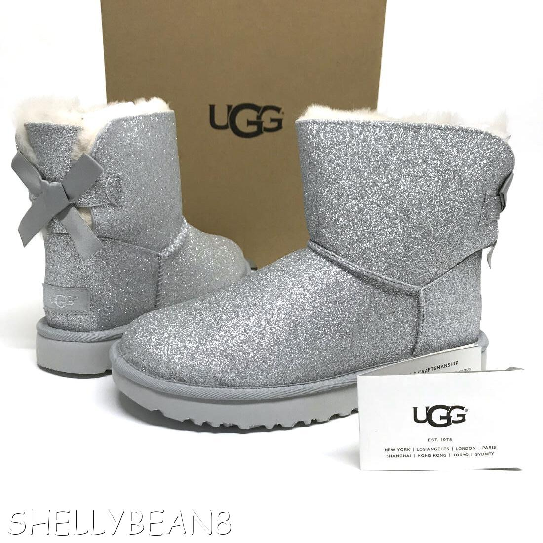 99edce9087e Details about UGG Mini BAILEY BOW SPARKLE Glitter Boots Booties SHEARLING  Fur LINED 7 NEW NIB