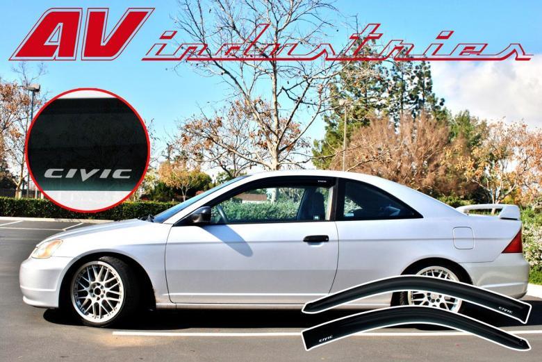 Civic 2001 2005 Coupe Em2 Side Window Rain Deflectors Sun