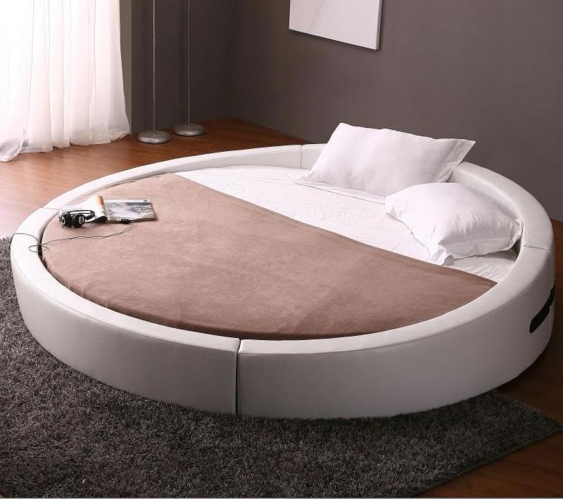round opus white modern leather match platform bed w premium round