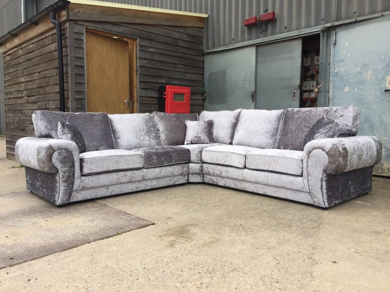 huge sale new tango crushed velvet corner sofa black and silver so cheap