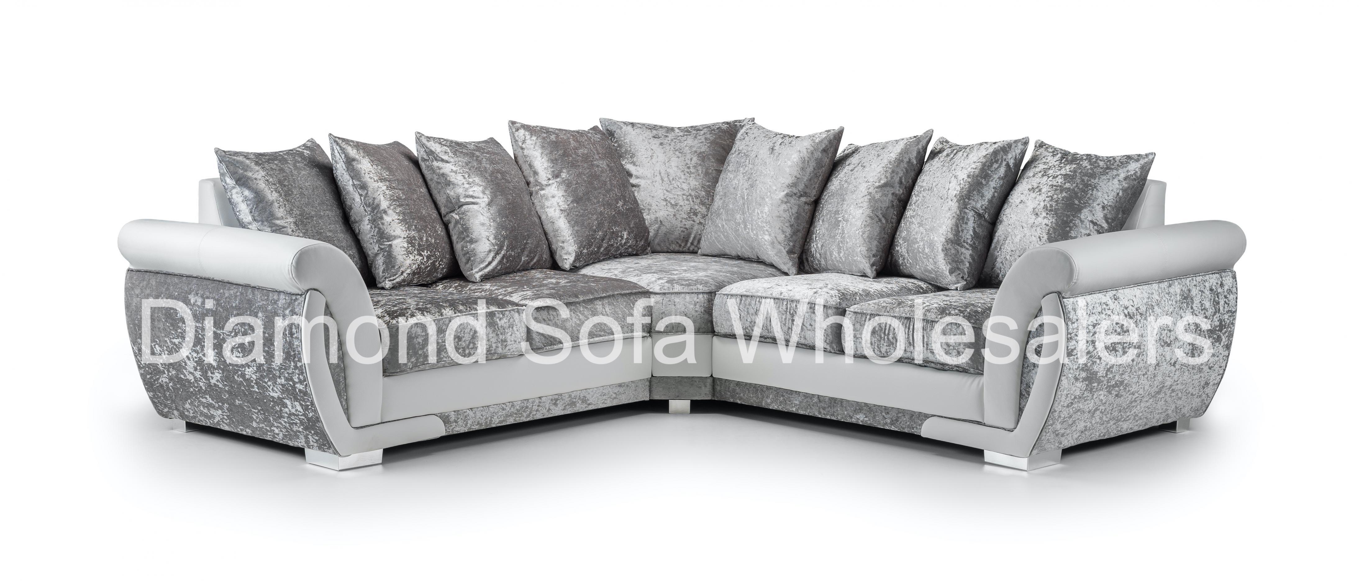 Sofa Shannon Corner 3 2 Seater Armchair Crushed Velvet White Silver Ebay