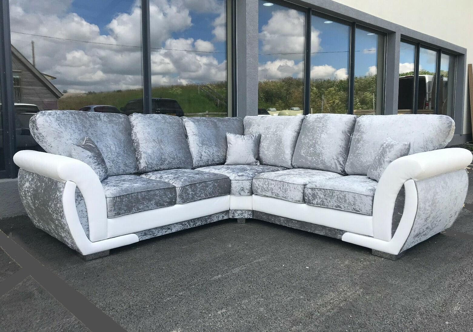 Picture of: Sofa Genoa Corner 3 2 Armchair Crushed Velvet White Silver Fixed Back Ebay