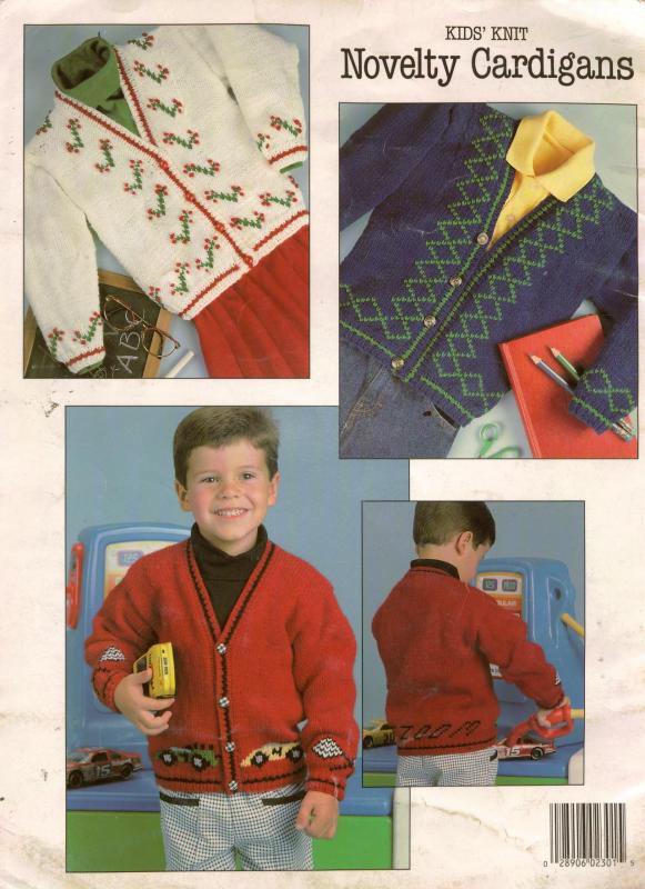 Novelty Knitting Pattern Books : Leisure Arts 2301 Kids Knit Novelty Sweaters Patterns Race Car Size 2-10 1992...