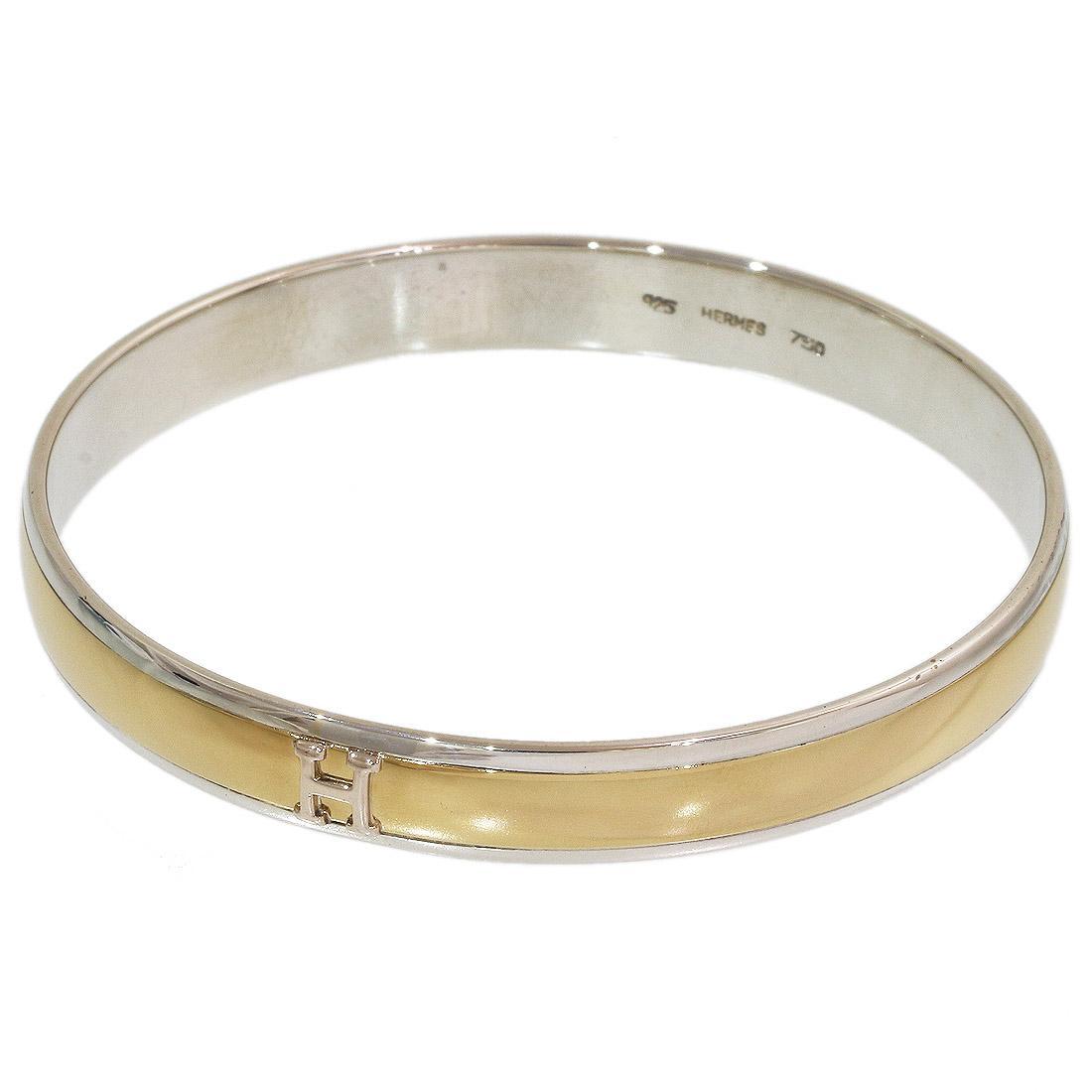 df6598e24 Hermes H Logo Design Bangle Bracelet Sterling Silver 925 / 18K ...
