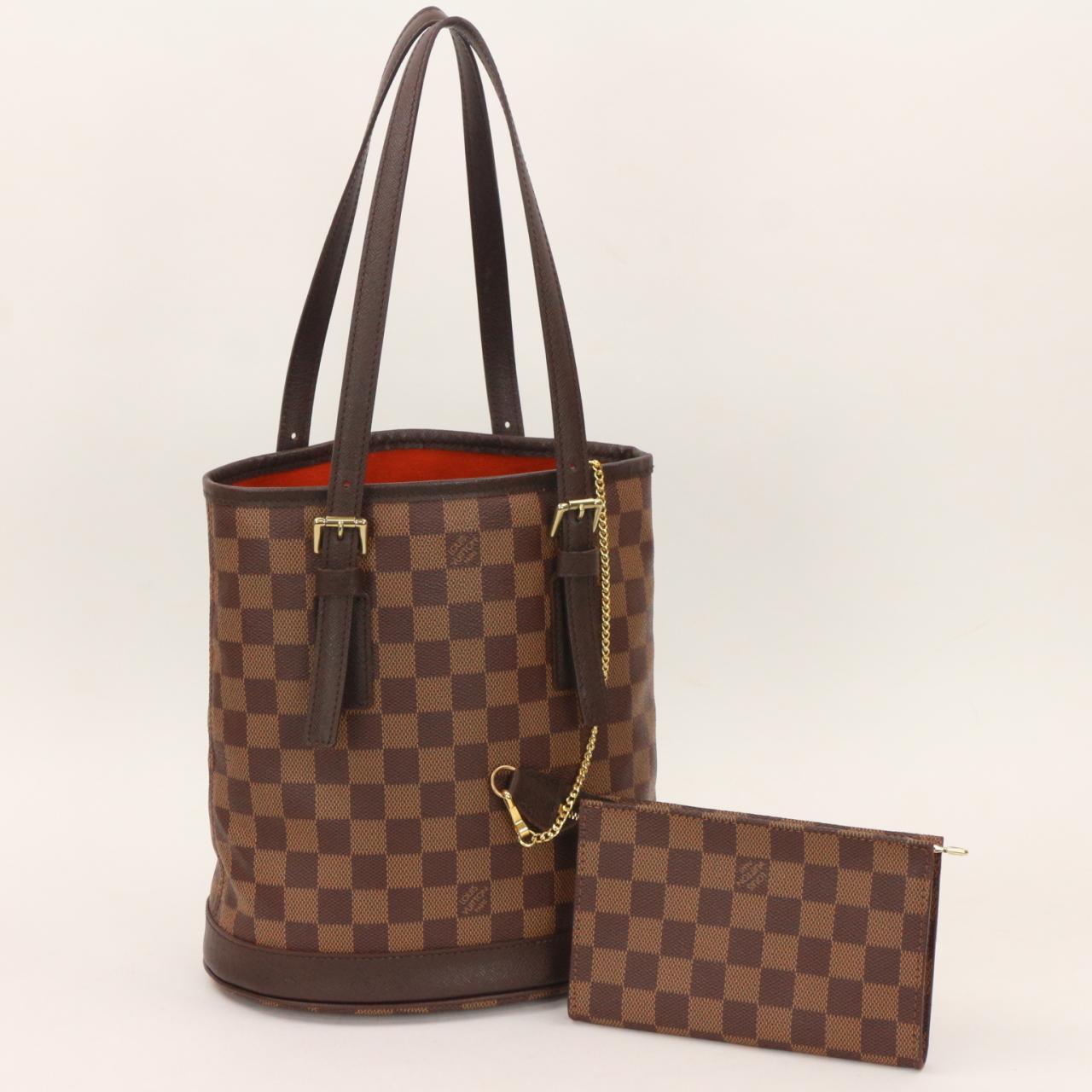2d7d9389df59 Authentic LOUIS VUITTON Damier Ebene Marais Bucket Tote Bag ...
