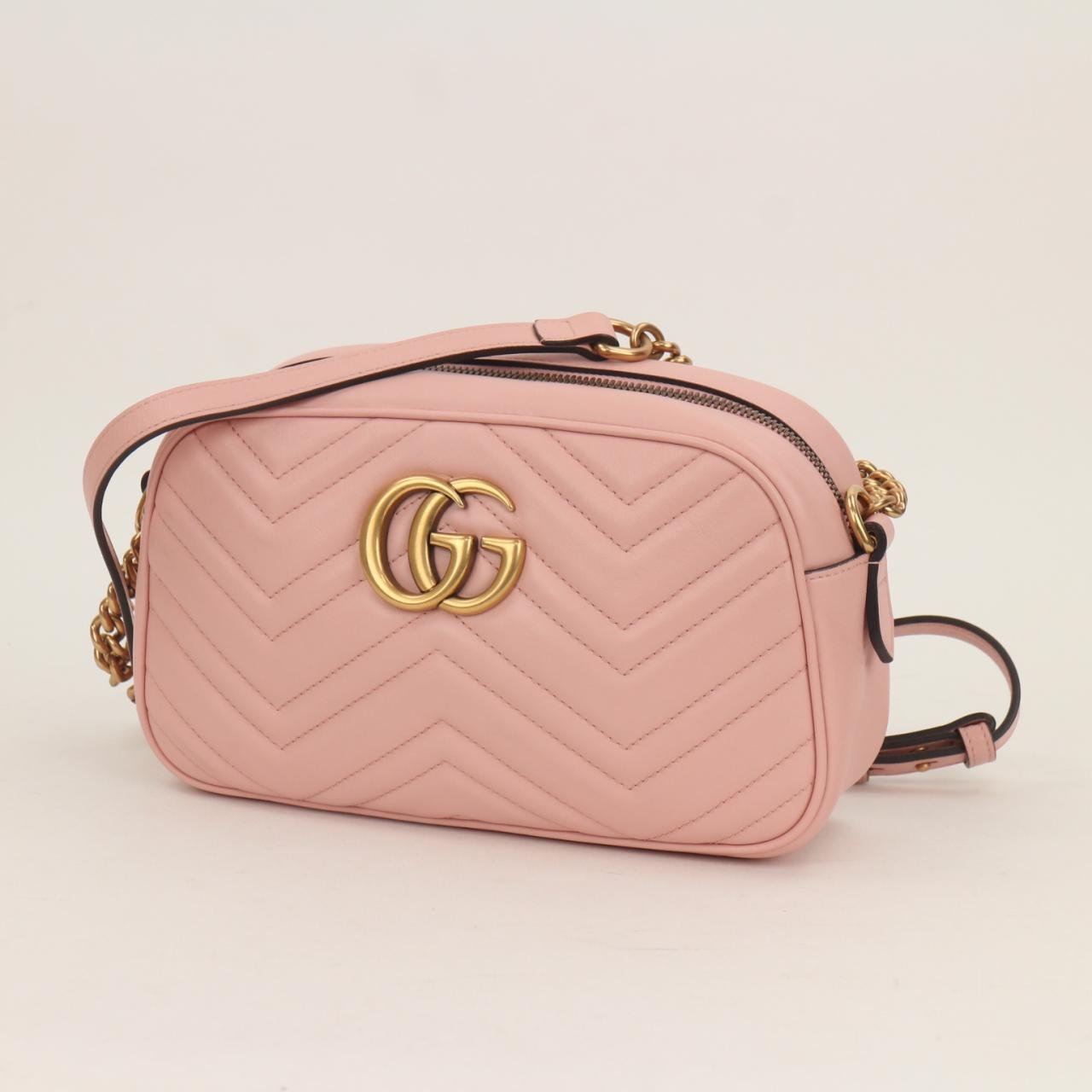 932ee547e5ff Auth GUCCI GG Pink Marmont Chain Shoulder Bag Made in Italy MINT ...