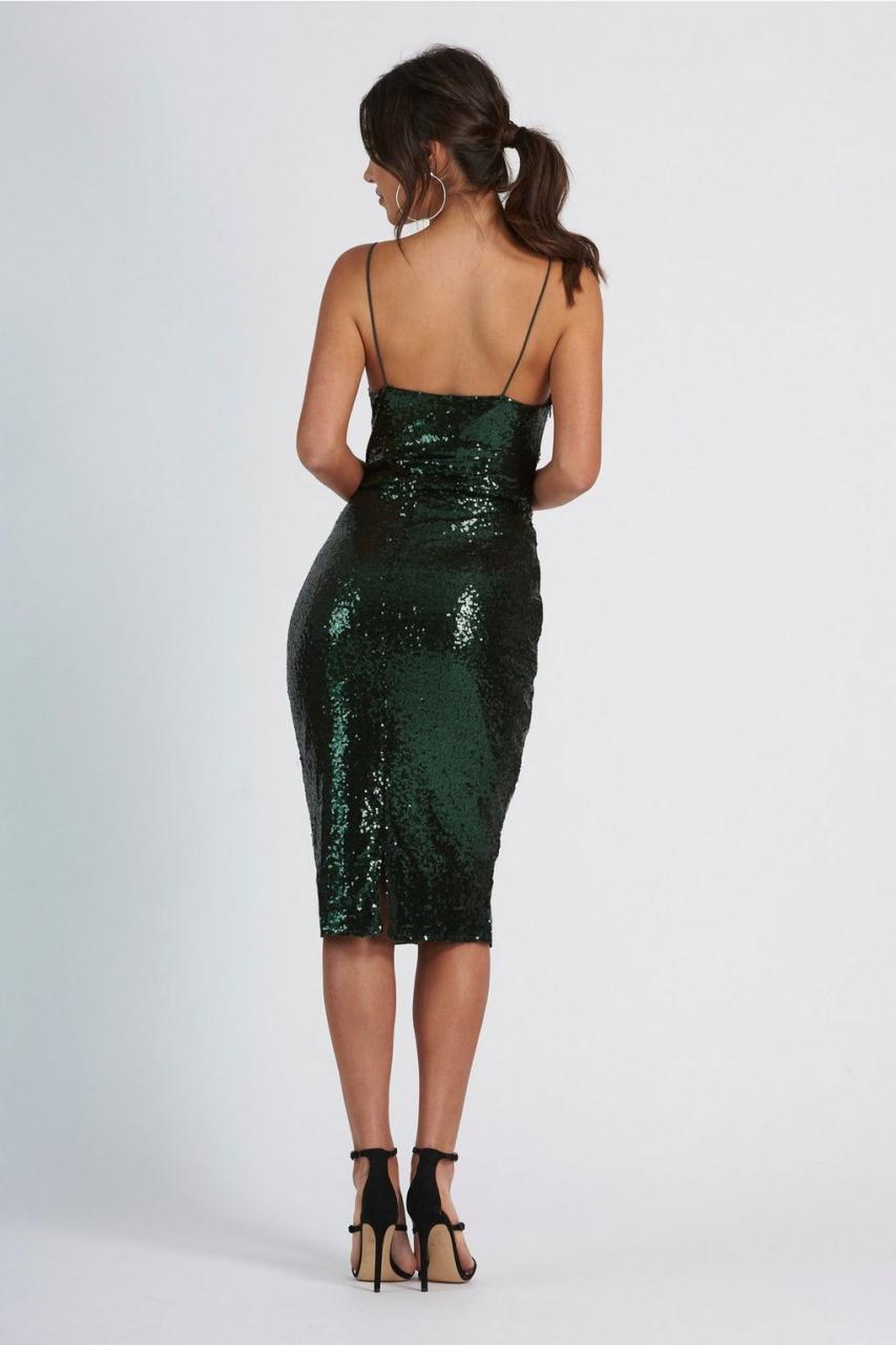 Club London Green Sequin Mid Cami Dress - Size 12  0e9c9fc9df6