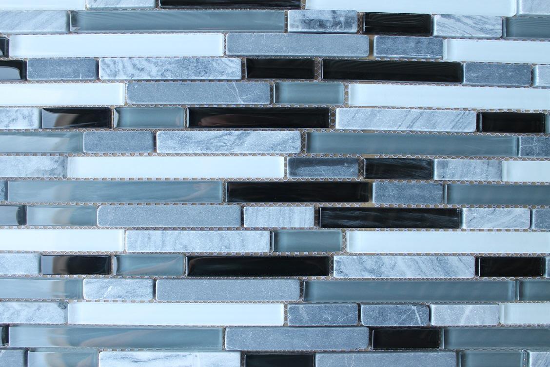 Anatolia Bliss Midnight Glass and Stone Random Strip Mosaic Tiles ...