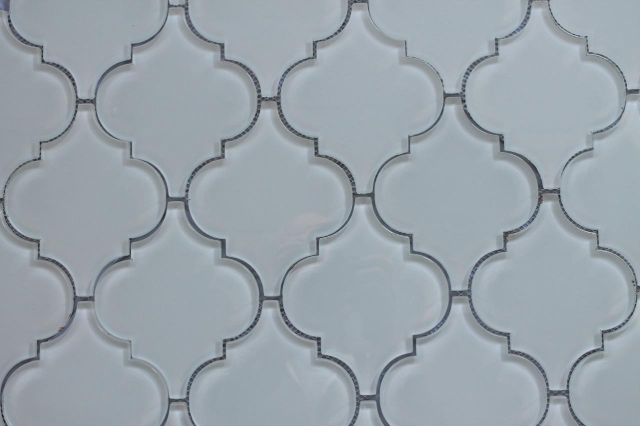 Cougar Snow White Arabesque Glass Mosaic Tiles