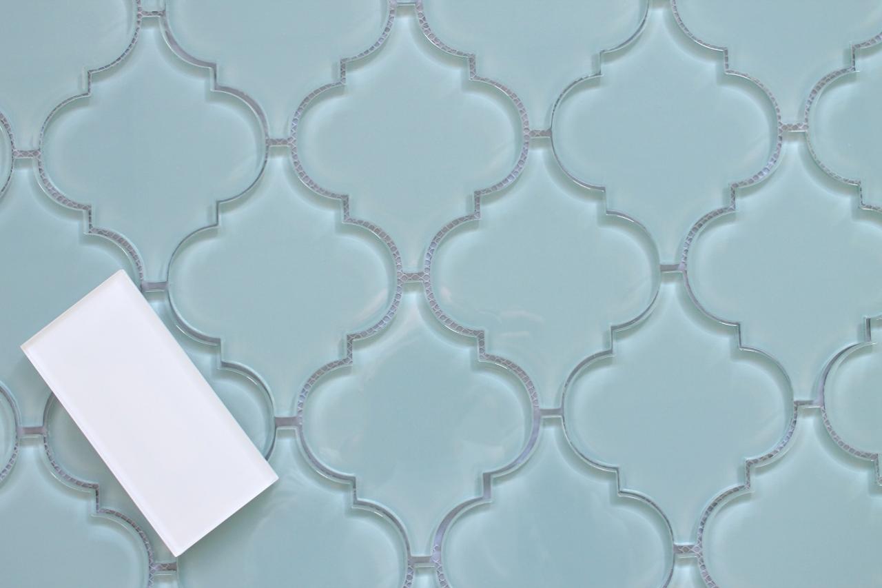 Jasper Blue Arabesque Glass Mosaic Tiles - Kitchen Backsplash ...