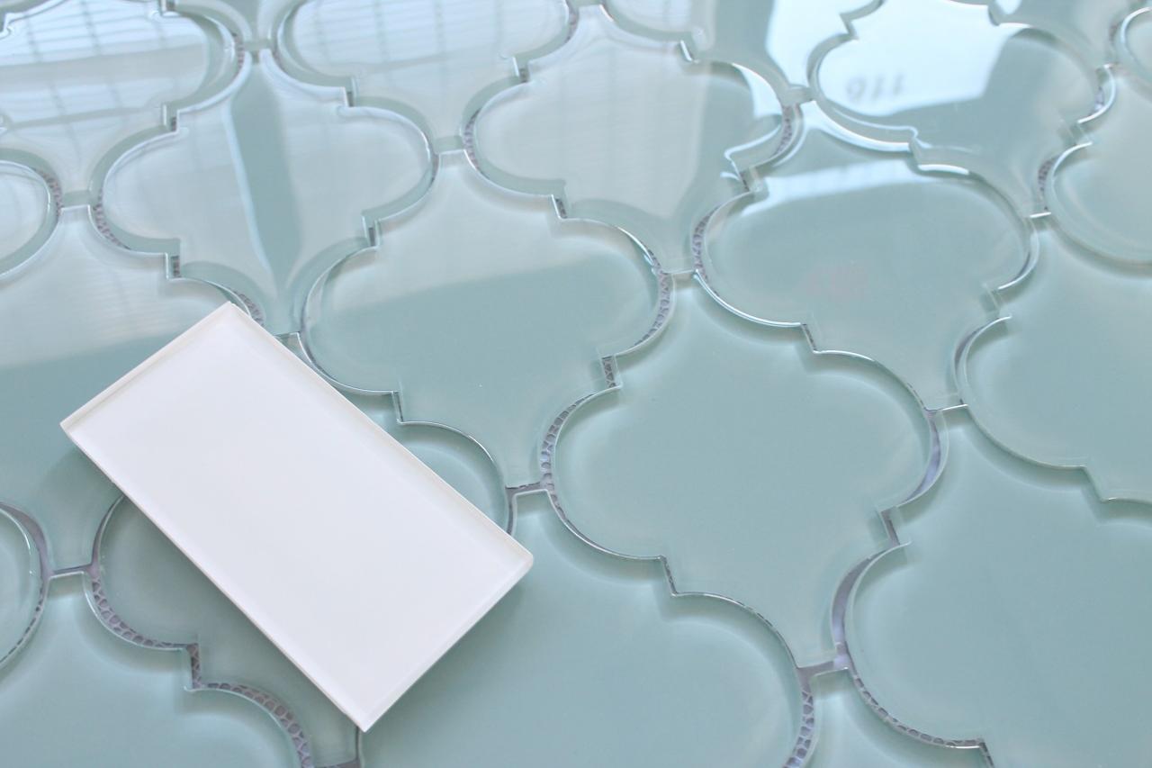 - Jasper Blue Arabesque Glass Mosaic Tiles - Kitchen Backsplash