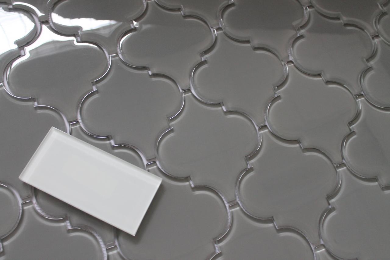 - Pebble Grey Arabesque Glass Mosaic Tiles For Kitchen Backsplash Or