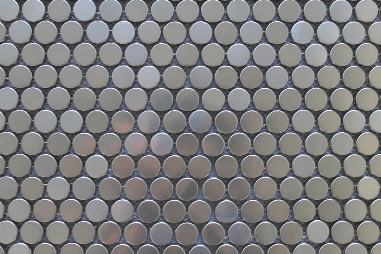 Stainless Steel Penny Round Mosaic Tiles For Kitchen