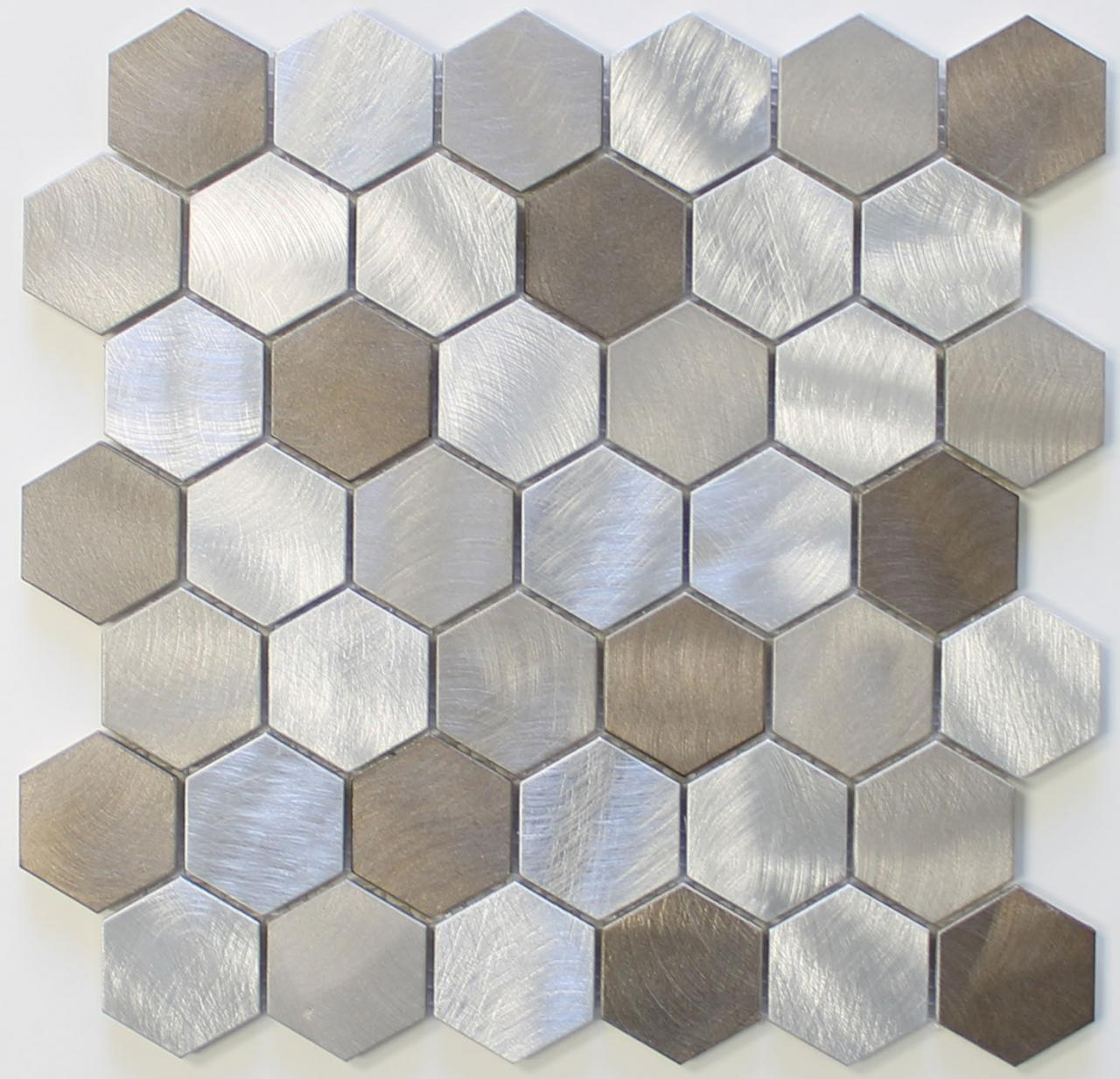 Delicieux Details About New Amsterdam Brushed Aluminum 2 Inch Hexagon Mosaic Tiles    Kitchen Backsplash