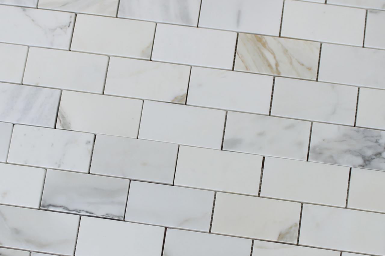 Details About 2 X 4 Calacatta Gold Polished Marble Subway Mosaic Tiles Kitchen Backsplash