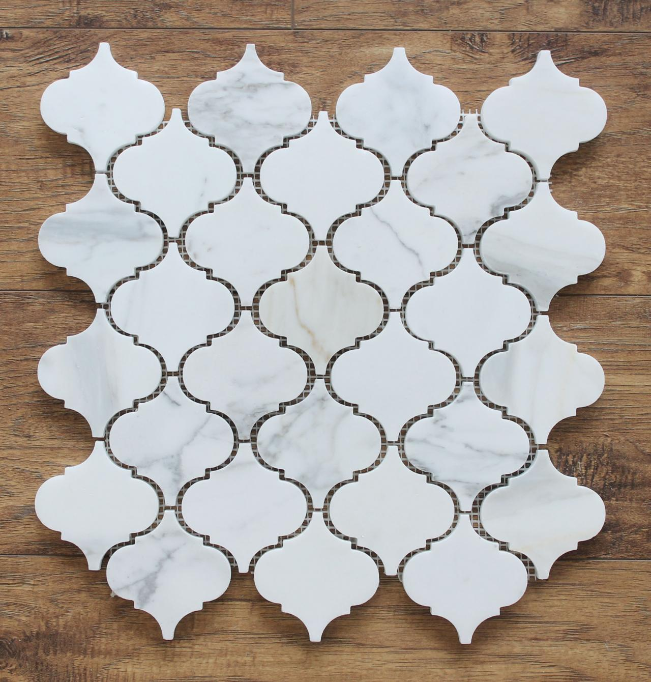 Arabesque Tiles Kitchen Wall: Calacatta Gold Polished Marble Arabesque Mosaic Tiles