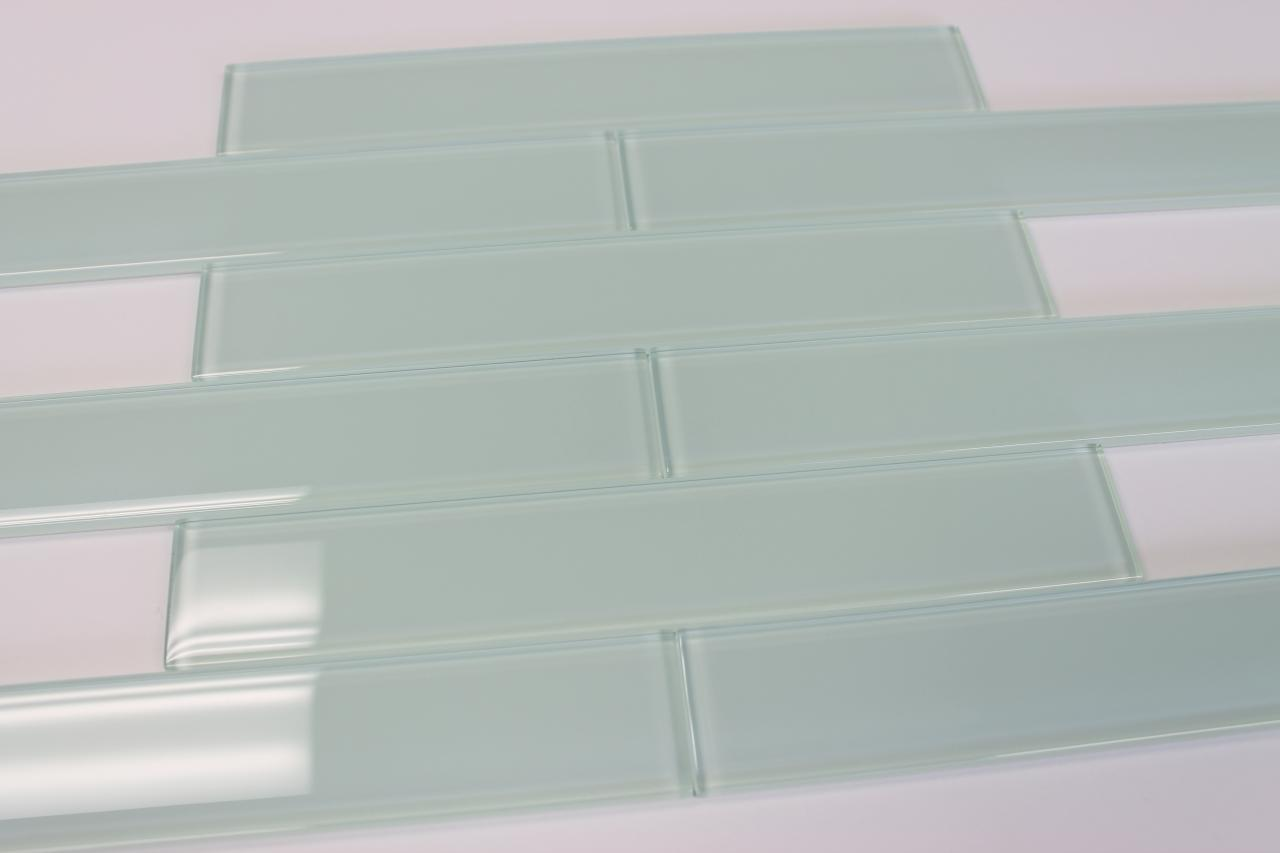 Ice Age Light Blue Green 2x12 Glass Subway Tiles For