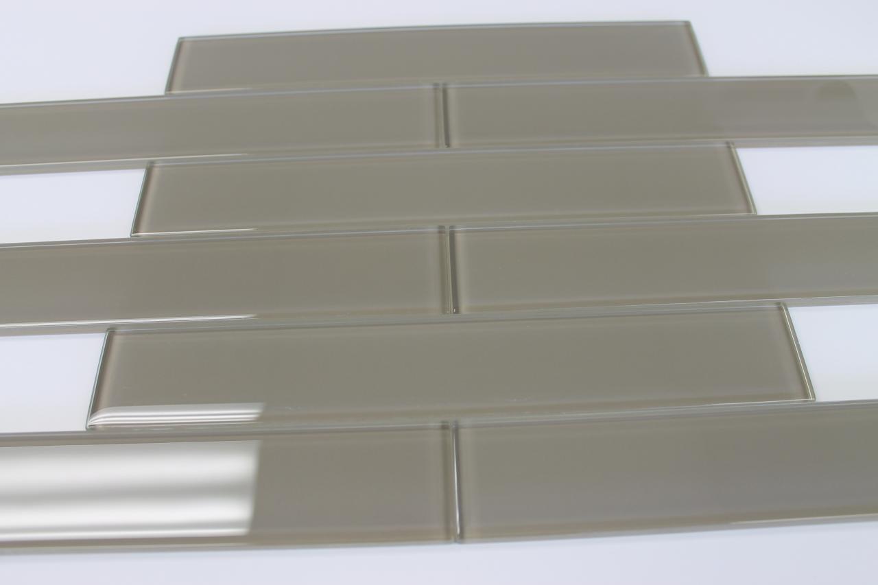 Manhattan Taupe Brown 2x12 Glass Subway Tiles For Kitchen Backsplash