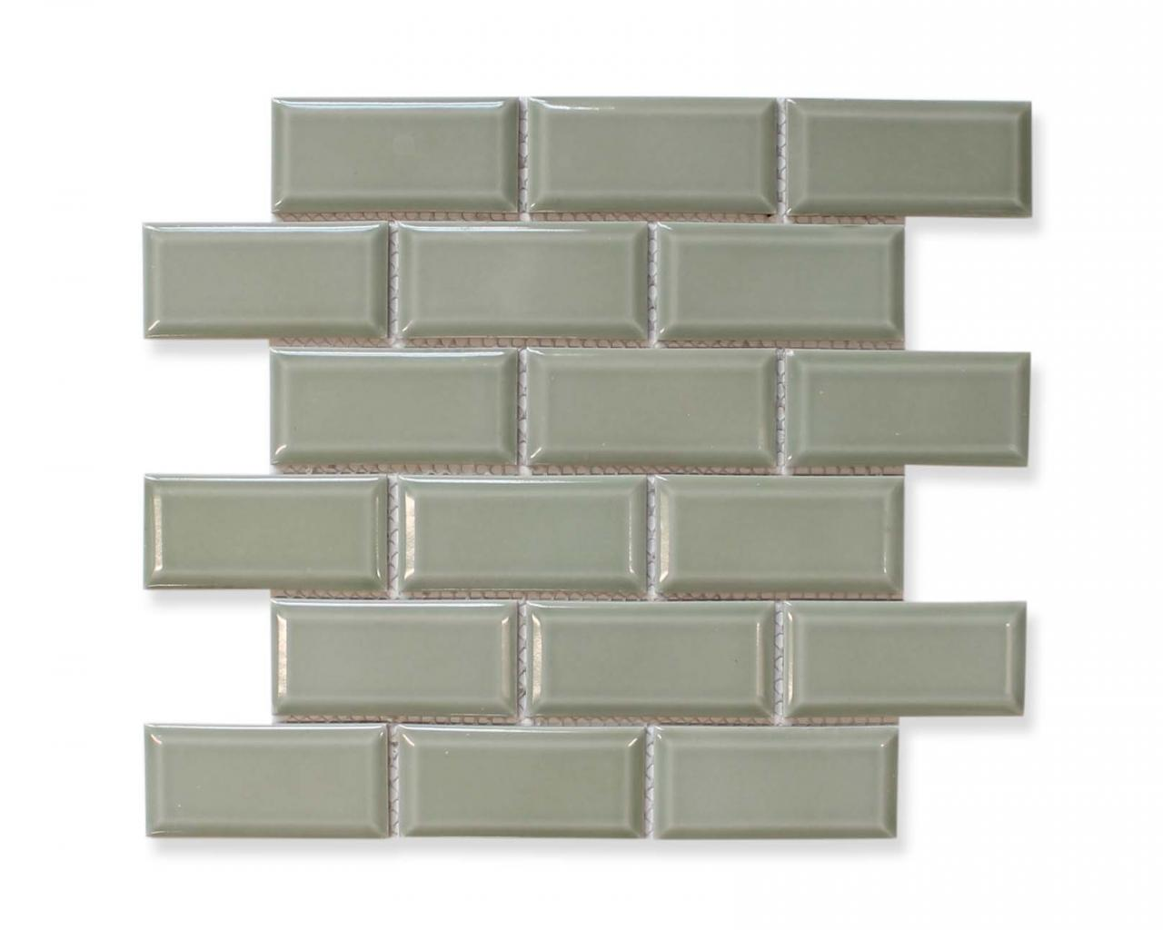 Victorian Beveled Sage Gloss Mosaic Tiles Kitchen Backsplash Bathroom Ebay