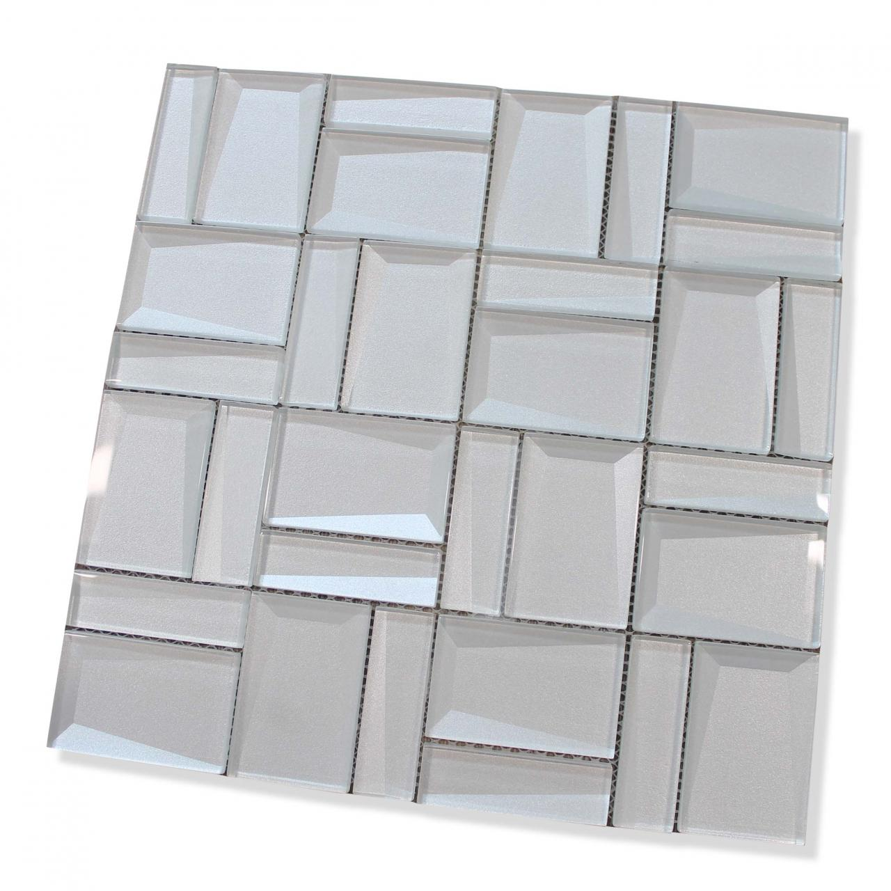 - Illusion II 3D 3x3 Beveled Glass Mosaic Tiles - Iridium