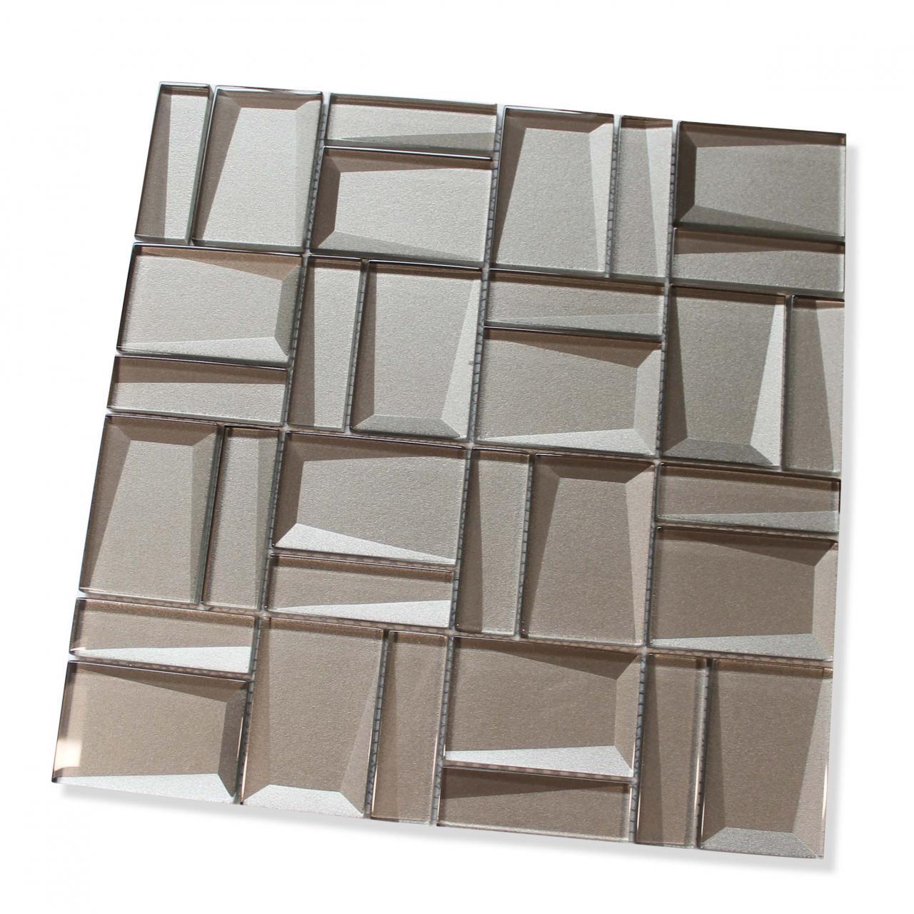 - Illusion II 3D 3x3 Beveled Glass Mosaic Tiles - Morion -Backsplash
