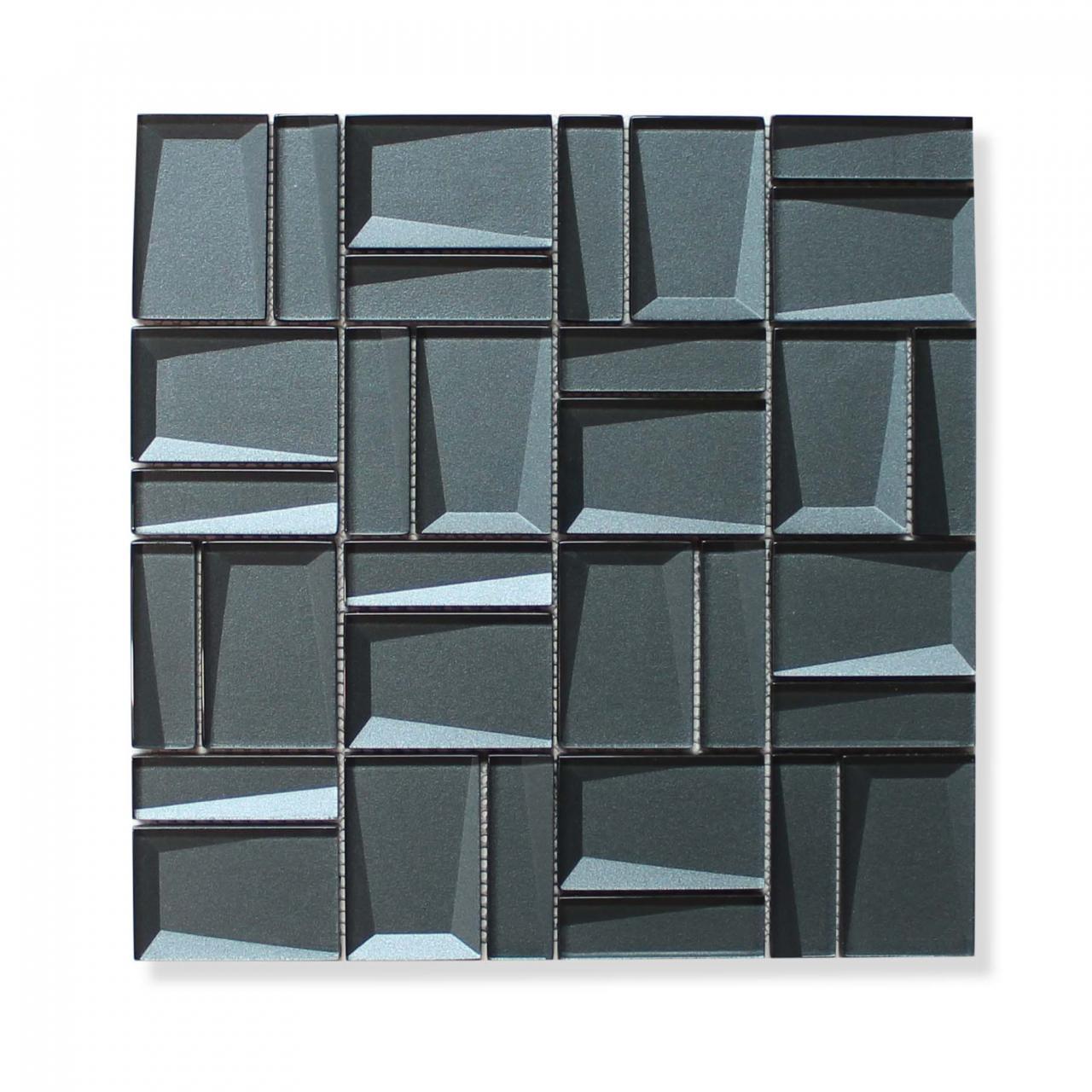 - Illusion II 3D 3x3 Beveled Glass Mosaic Tiles - Sapphire