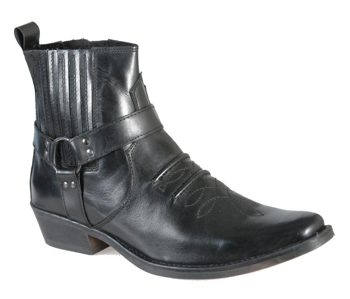 mens black leather biker western boots images hosted