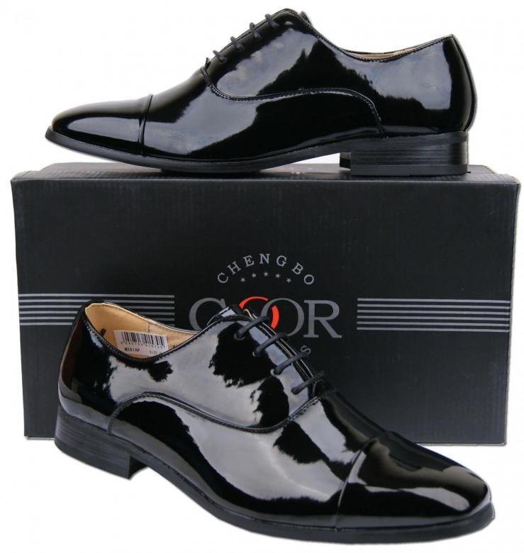 mens new black leather lined patent formal wedding shoes