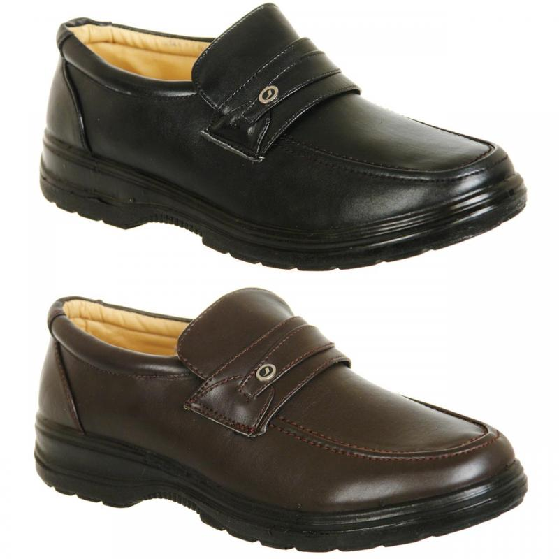 mens brown or black wider fit slip on comfort shoes size 6