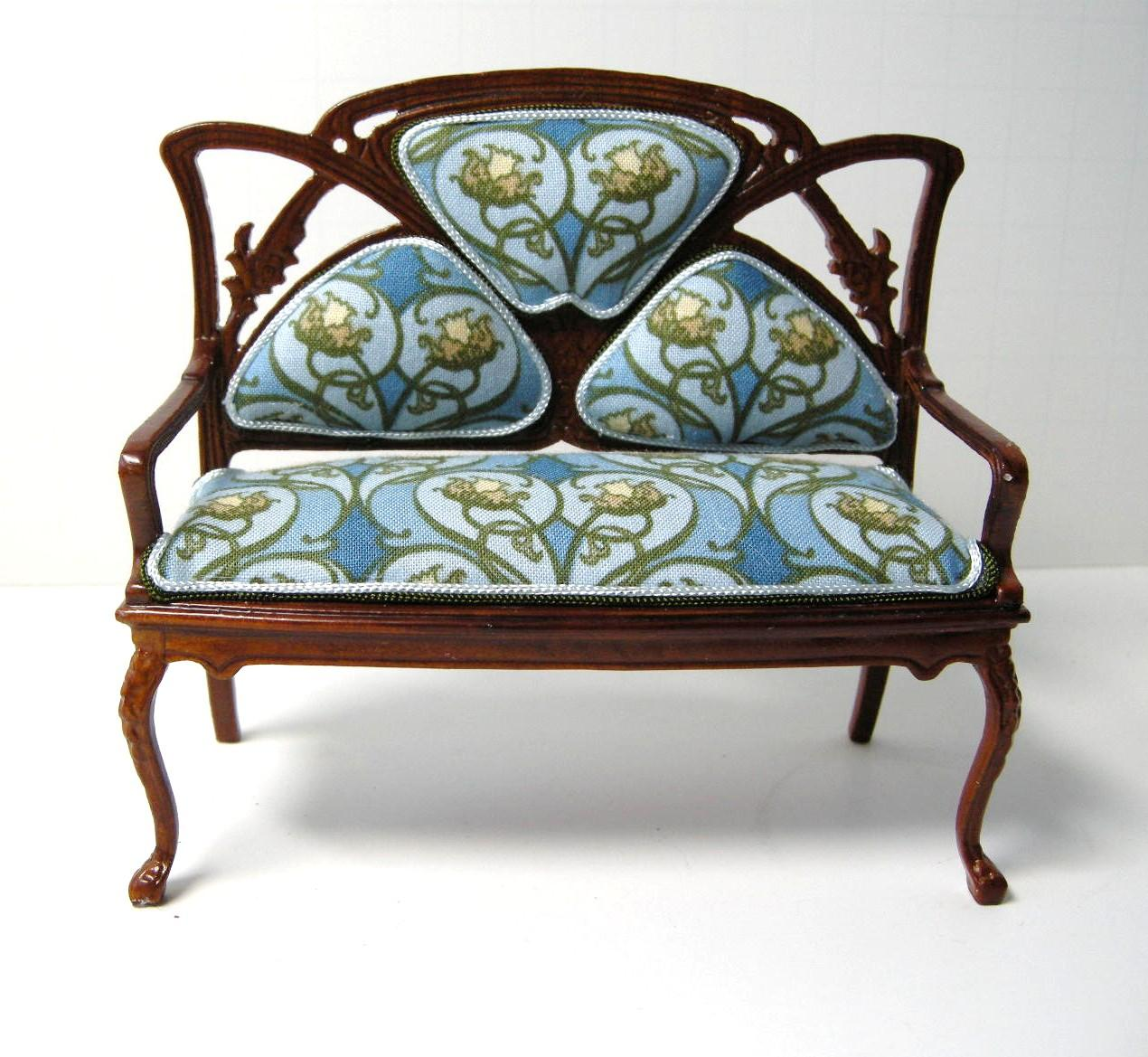 Dollhouse miniature custom furniture art nouveau sofa for Art design furniture