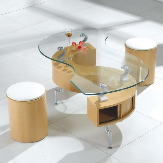 Glass S Shaped Storage Coffee Table With 2 Stools Beech Ebay