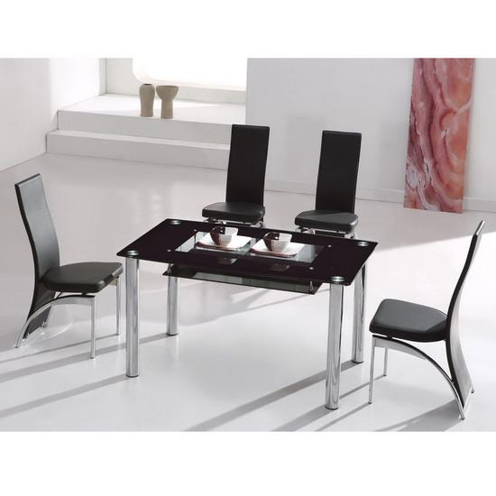 Big Compact Glass Dining Table and 4 Chairs Images  : 1357764Copy of big compact black dining table dali black  from biggerbids.com size 550 x 550 jpeg 25kB