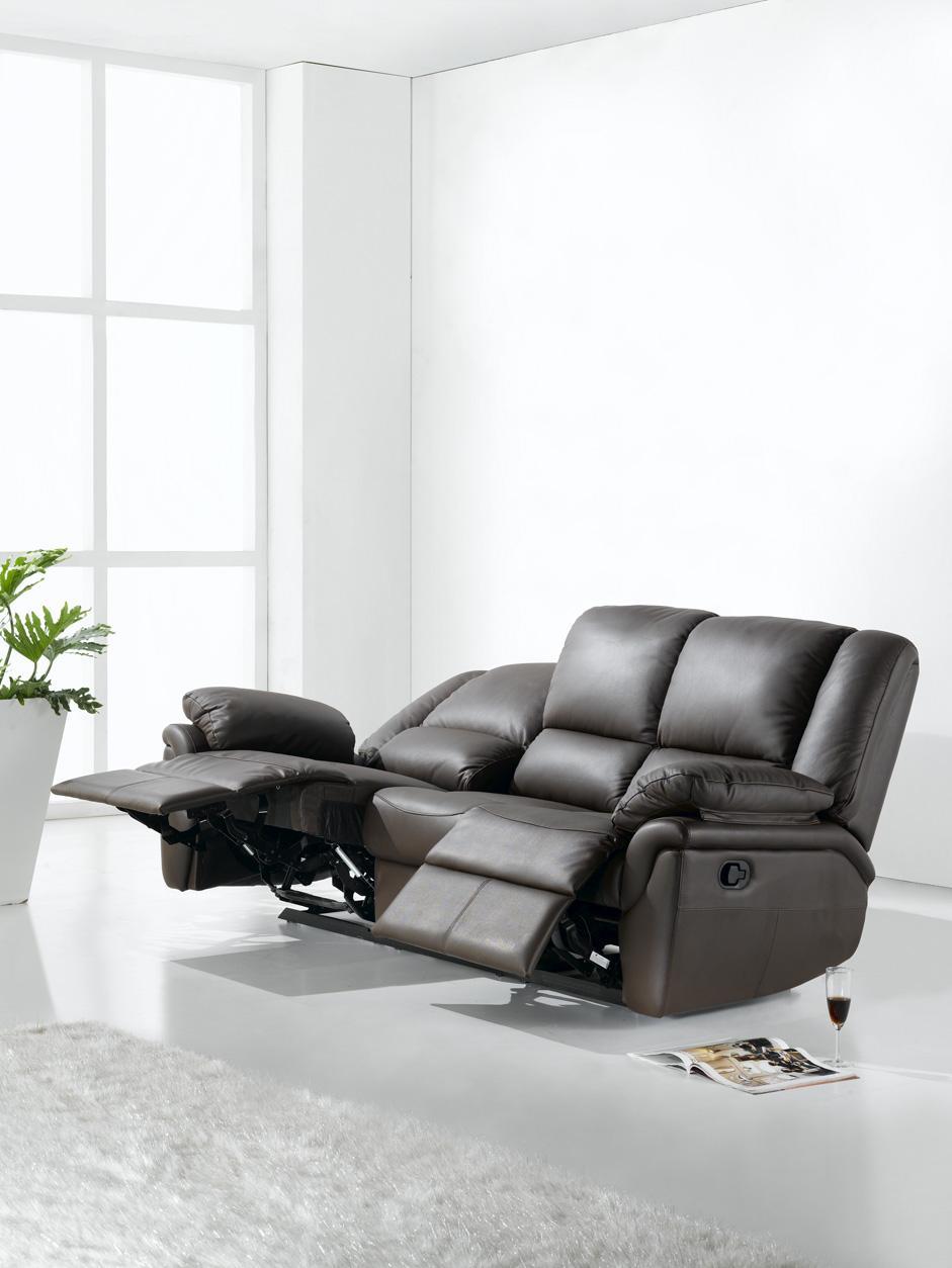 Elan Brown Genuine Leather 3 2 Reclining Sofa Set