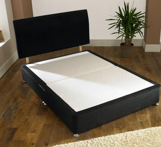 Black Chenille Low Kingsize Bed Divan Base Headboard Ebay